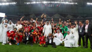 منتخب البحرين بعد تأهله إلى نصف نهائي كأس الخليج في قطر