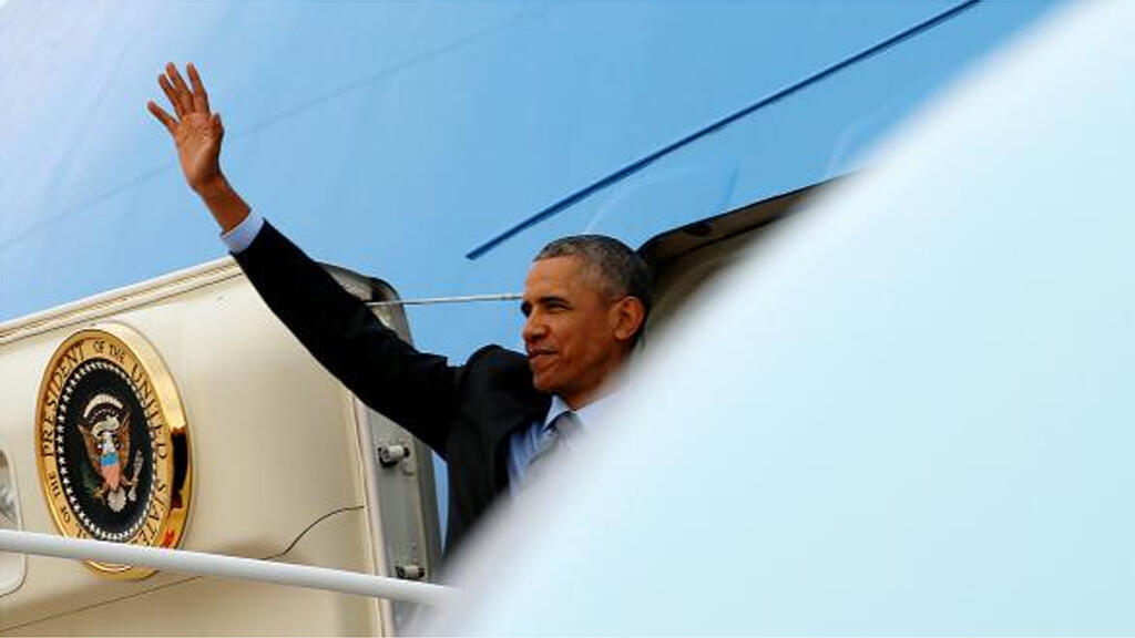 الرئيس الأمريكي يقل الطائرة من واشنطن إلى الرياض 19-04-2016