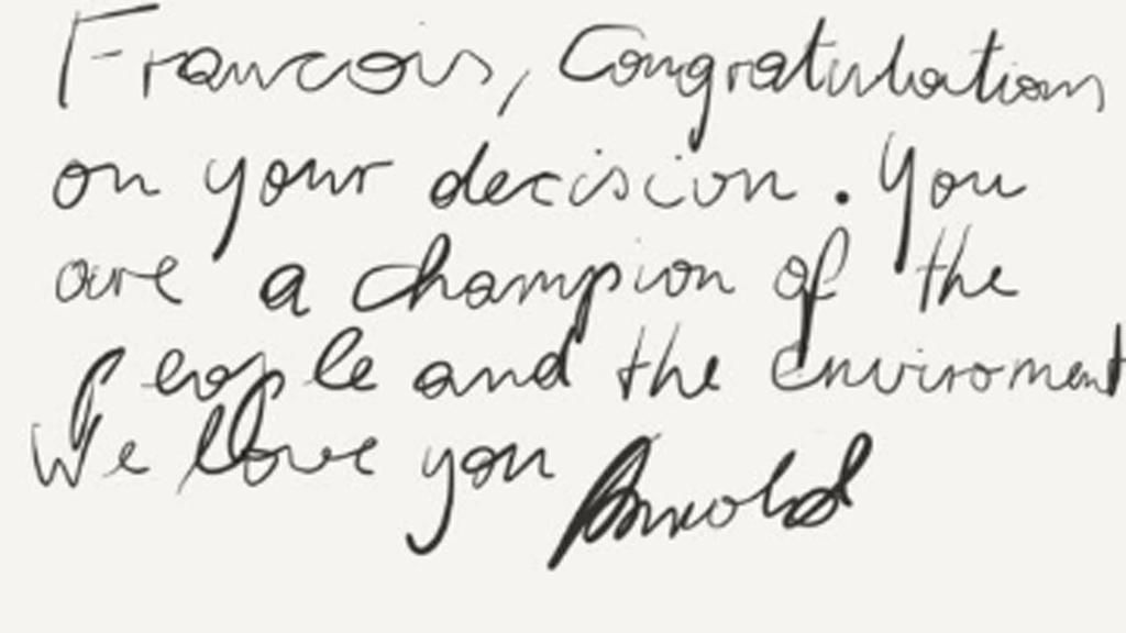 رسالة حاكم ولاية كاليفورنيا سابقا أرنولد شوارزينيغر إلى الرئيس فرانسوا هولاند
