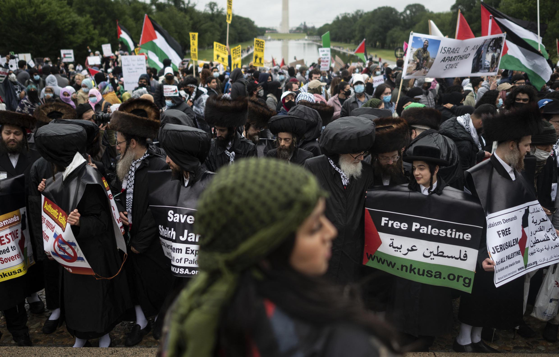 جانب من مظاهرة واشنطن تضامنا مع فلسطين