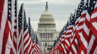 أمام مبنى الكونغرس الأمريكي في واشنطن