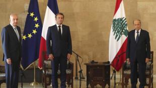 ماكرون خلال زيارته لبيروت يلتقي بالرئيس اللبناني ميشال عون ورئيس مجلس النواب نبيه بري