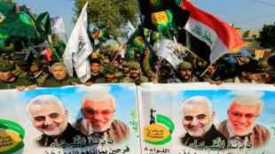 من مراسم تشييع اللواء الإيراني قاسم سليماني والقائد العراقي أبو مهدي المهندس في بغداد