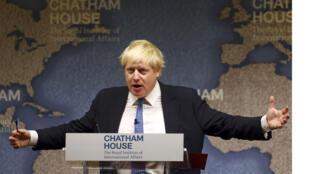 وزير الخارجية  البريطاني بوريس جونسون يلقي خطابا في تشاتام هاوس في لندن