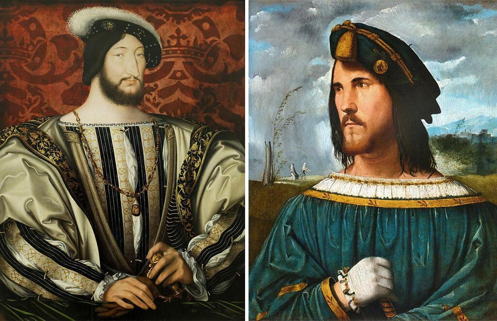 تشيزري بورجا (يمين) وملك فرنسا فرانسوا الأول (يسار)