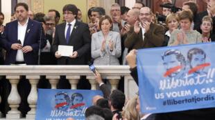 البرلمان الكاتالوني بعد التصويت على إعلان الاستقلال عن إسبانيا