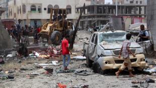 تفقد آثار التفجير الانتحاري في مدينة عدن (29-08-2016)