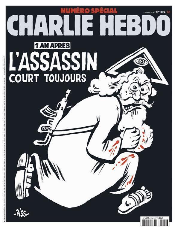 غلاف العدد الخاص من شارلي ايبدو بمناسبة مرور عام على الاعتداءات الدامية