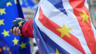 متظاهر مناوئ للبريكست أمام مبنى البرلمان البريطاني