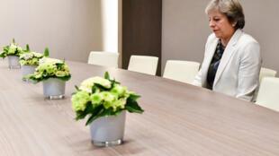 صورة رئيسة الوزراء البريطانية تيريزا ماي التي أثارت جدلا