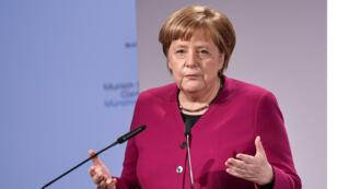 المستشارة الألمانية أنجيلا ميركل خلال مؤتمر ميونيخ الخامس والخمسين  للأمن في ميونيخ جنوب ألمانيا في 16 فبراير 2019