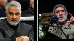 من اليمين إلى اليسار إسماعيل قاآني  وقاسم سليماني -