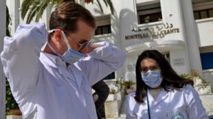 أمام وزراة الصحة في تونس يوم 4 مارس 2020