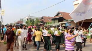 مواطنون من بورما في مسيرة احتجاجية
