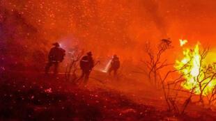 عناصر الإطفاء يحاولون إخماد حرائق كاليفورنيا