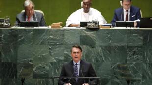 جاير بولسونارو  يلقي خطابه أمام الجمعية العامة للأمم المتحدة يوم 24 سبتمبر 2019