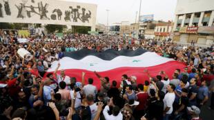 متظاهرون في ساحة التحرير ببغداد