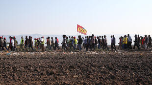 مسيرة احتجاجية للعمال الأفارقة في إيطاليا بعد وفاة 16 من زملائهم سنة 2008