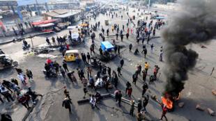 الاحتجاجات في بغداد يوم 24 يناير/ كانون الثاني 2020