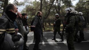 مواجهة بين الشرطة والمحتجين في الجزر اليونانية