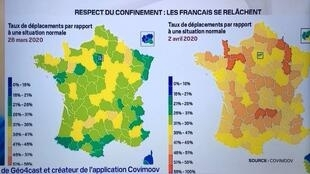 خريطة تبرز مدى التزام الفرنسيين بالحجر الالزامي ( مصدر covimoov)