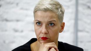 ماريا كوليسنيكوفا خلال مؤتمر صحفي في مينسك