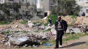 منزل عائلة أبو جمعة الذين قتل منهم 30 مدنياً إثر غارة جوية إسرائيلية على غزة صيف 2014