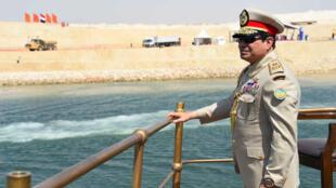 الرئيس المصري عبد الفتاح السيسي خلال حفل افتتاح قناة السويس الجديدة