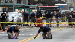 المخابرات الأميركية تتفحص مكان وقوع التفجير في حي تشلسي، نيويورك 18-09-2016