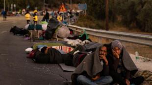 لاجئون في جزيرة ليسبوس اليونانية
