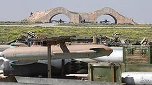 صورة لمطار الشعيرات بعد الضربة الجوية الأمريكية