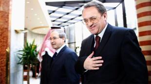 ميخائيل بوغدانوف نائب وزير الخارجية الروسي مع نظيره السوري فيصل المقداد في دمشق