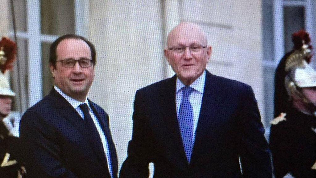 رئيس وزراء لبنان تمام سلام مع الرئيس الفرنسي فرانسوا هولاند في قصر الإليزيه