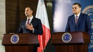 رئيس الوزراء الليبي المؤقت عبد الحميد دبيبة (على اليمين)  ورئيس وزراء مالطا روبرت أبيلا يعقدان مؤتمرا صحفيا مشتركا في العاصمة طرابلس في 5 أبريل 2021