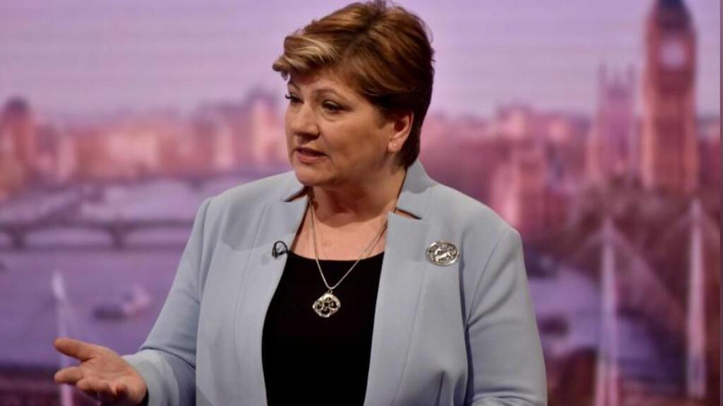 إميلي ثورنبيري المتحدثة باسم حزب العمال للشؤون الخارجية في لندن يوم الأحد