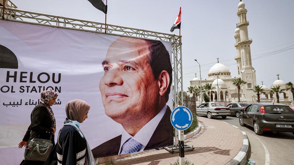 ملصق صورة للرئيس المصري عبد الفتاح السيسي في بيت حانون بقطاع غزة