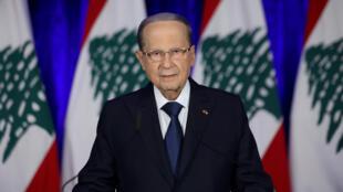 الرئيس اللبناني ميشال عون خلال رسالته إلى اللبنانيين مساء 21 نوفمبر 2019