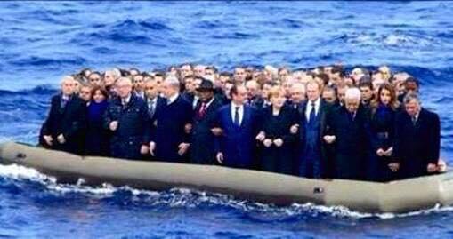 صورة معدلة بالفوتوشوب تضع قادة أوروبا على متن قارب من قوارب المهاجرين