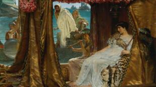 """لوحة """"لقاء مارك أنطوان وكليوبترا"""" من عام 1884 للفنان الهولندي لورينس تديما"""