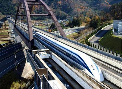 صورة لقطار في العالم maglev الياباني الأسرع في العالم