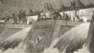 مصريون قدماء يلقون عذارء عروس النيل في النهر في لوحة من عام 1884