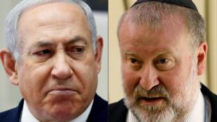 المدعي العام الإسرائيلي افيخاي مندلبليت (على اليمين) وبنيامين نتانياهو