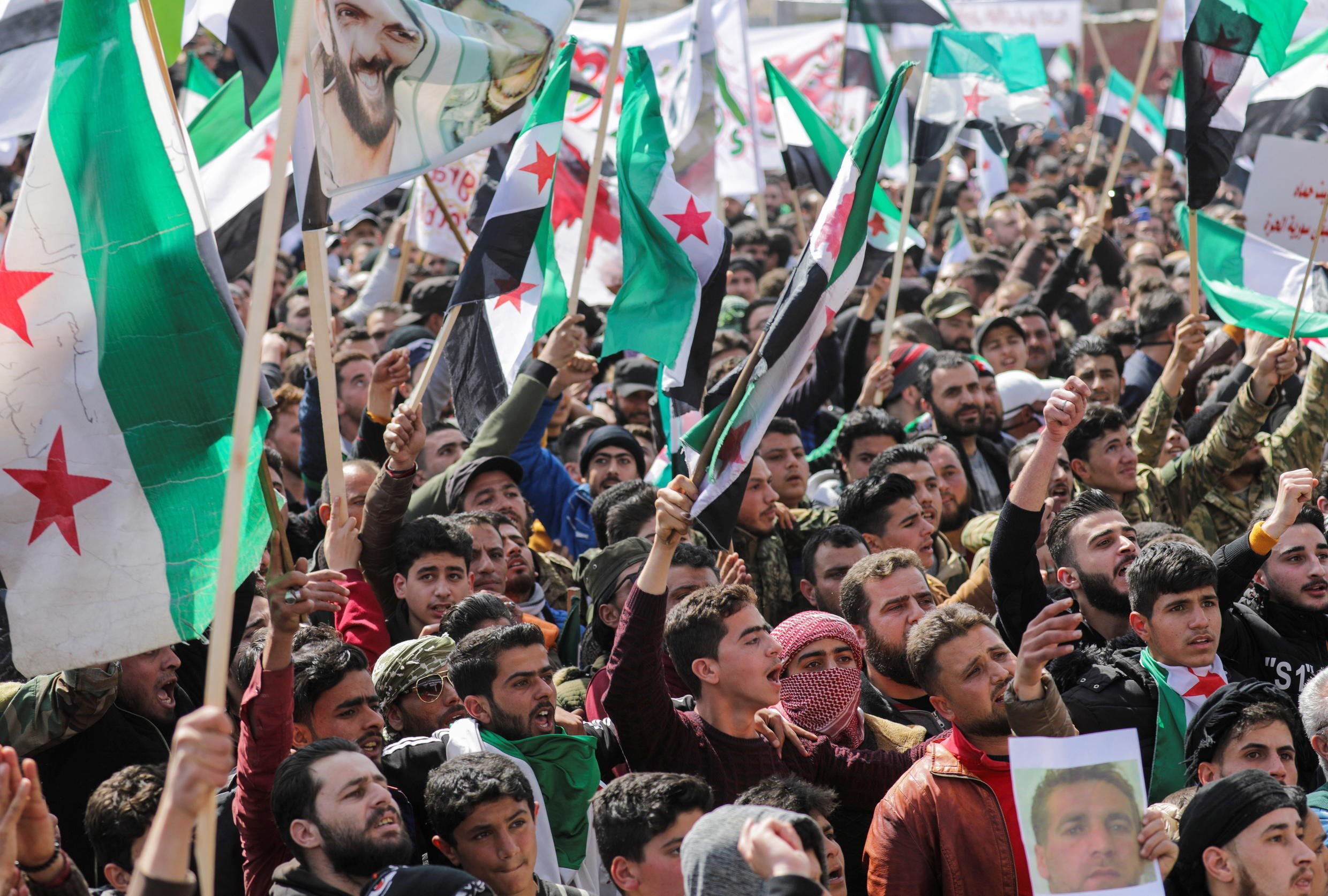 SYRIA-SECURITY-ANNIVERSARY-PROTESTS