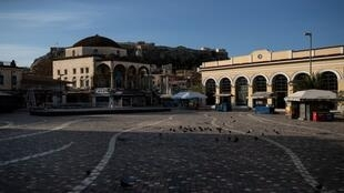 ساحة مونستيراكي في أثينا بعد الحجر الصحي بسبب فيروس كورونا