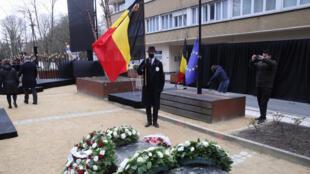 في العاصمة البلجيكية بروكسل خلال تكريم ضحايا اعتداءي 2016