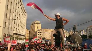 تظاهرة سلمية للمجتمع المدني في بيروت لحل أزمة النفايات في 22-08-2015