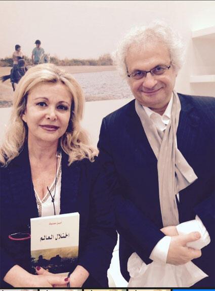 الإعلامية كابي لطيف مع الأديب العالمي أمين معلوف في أبو ظبي