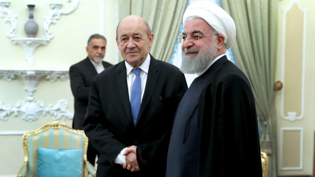 وزير خارجية فرنسا لودريان خلال لقائه بالرئيس الإيراني حسن روحاني، طهران 05-03-2018