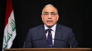 رئيس الوزراء العراقي عادل عبد المهدي يلقي خطاباً متلفزاً في بغداد-