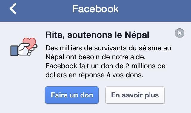صورة من حملة التبرعات  من أجل النيبال التي أطلقها فيس بوك على منصته